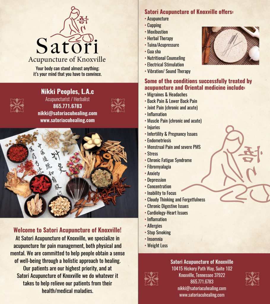 Satori Acupuncture of Knoxville Rack Card (Front and Back, Designed and Printed)