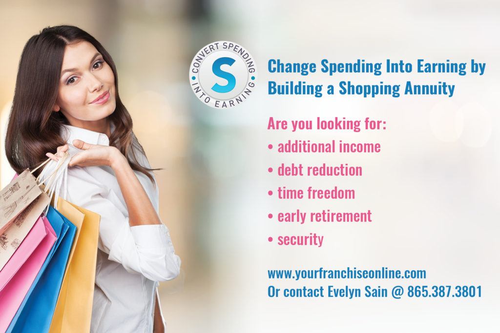 Evelyn Sain Shopping Annuity Postcard (Designed and Printed)