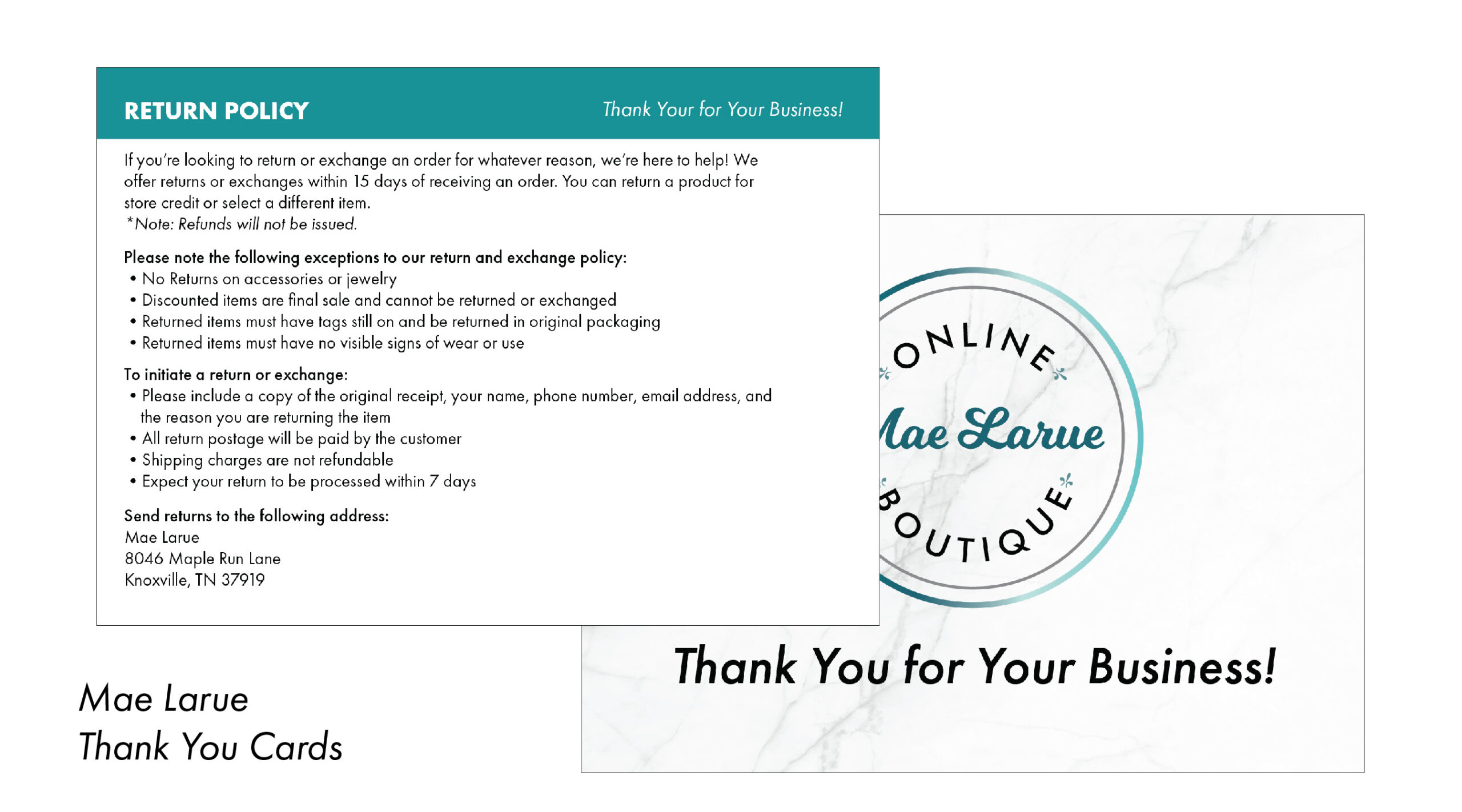 Mae Larue Boutique Thank You Cards