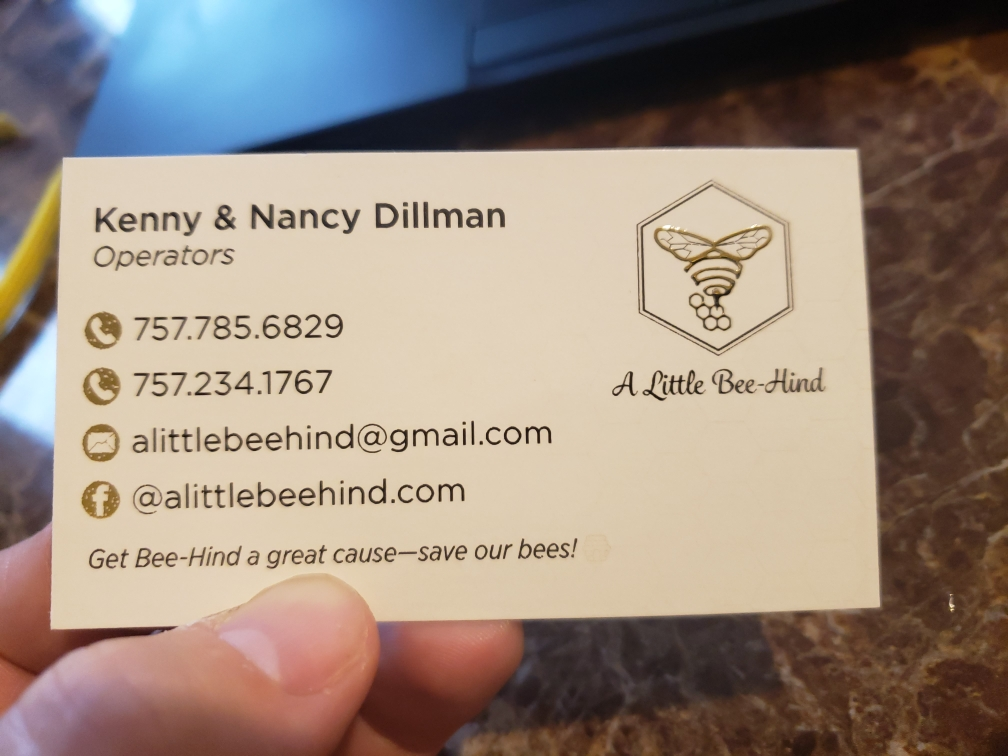 A Little Bee-Hind Business Card with Raised Foil